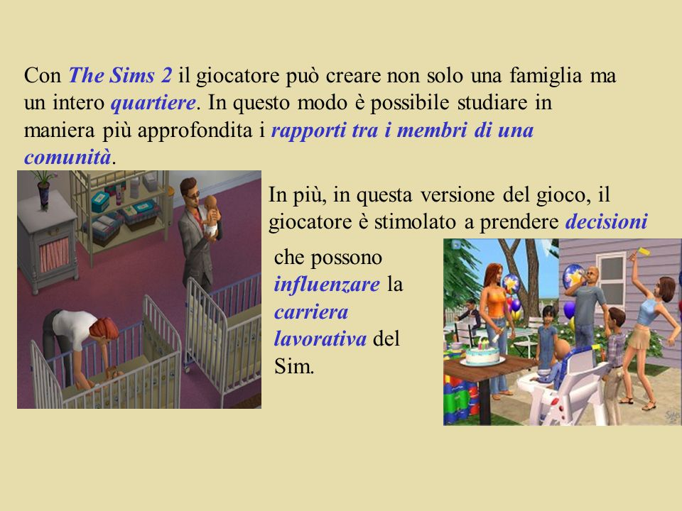 Con The Sims 2 il giocatore può creare non solo una famiglia ma un intero quartiere.