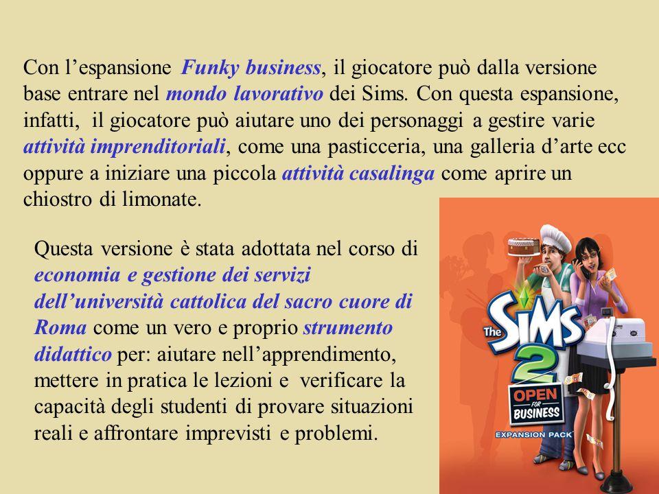 Con lespansione Funky business, il giocatore può dalla versione base entrare nel mondo lavorativo dei Sims.