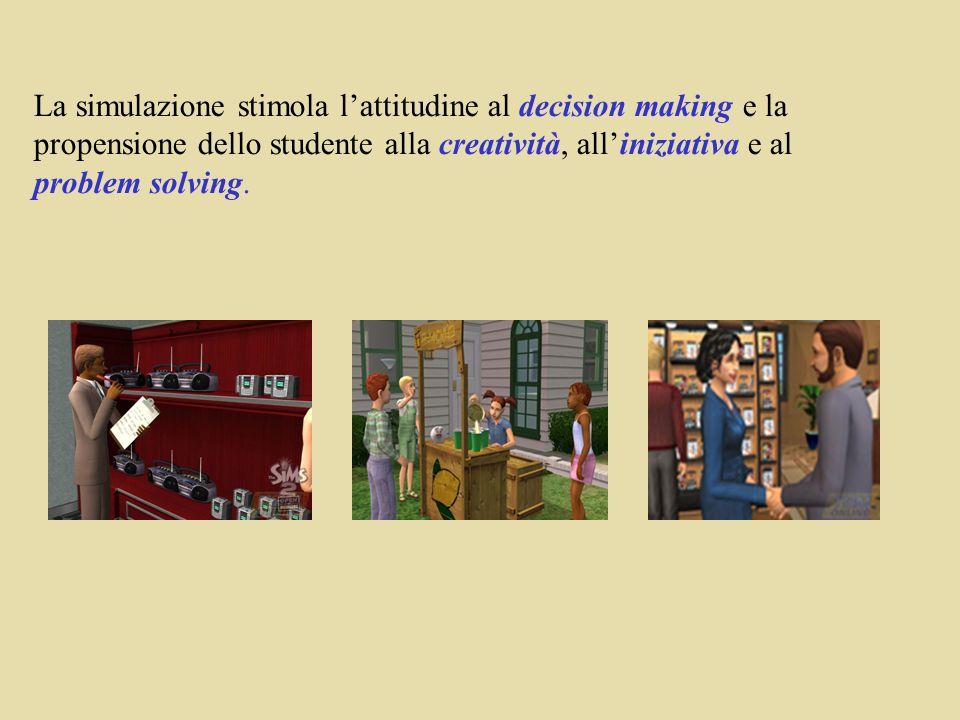 La simulazione stimola lattitudine al decision making e la propensione dello studente alla creatività, alliniziativa e al problem solving.