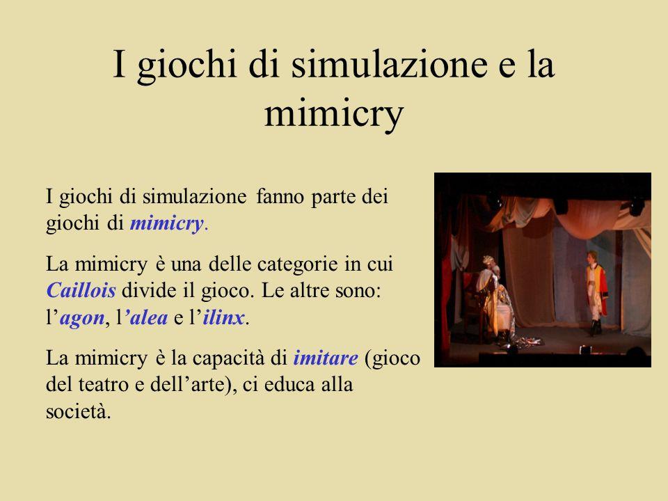 I giochi di simulazione e la mimicry I giochi di simulazione fanno parte dei giochi di mimicry.