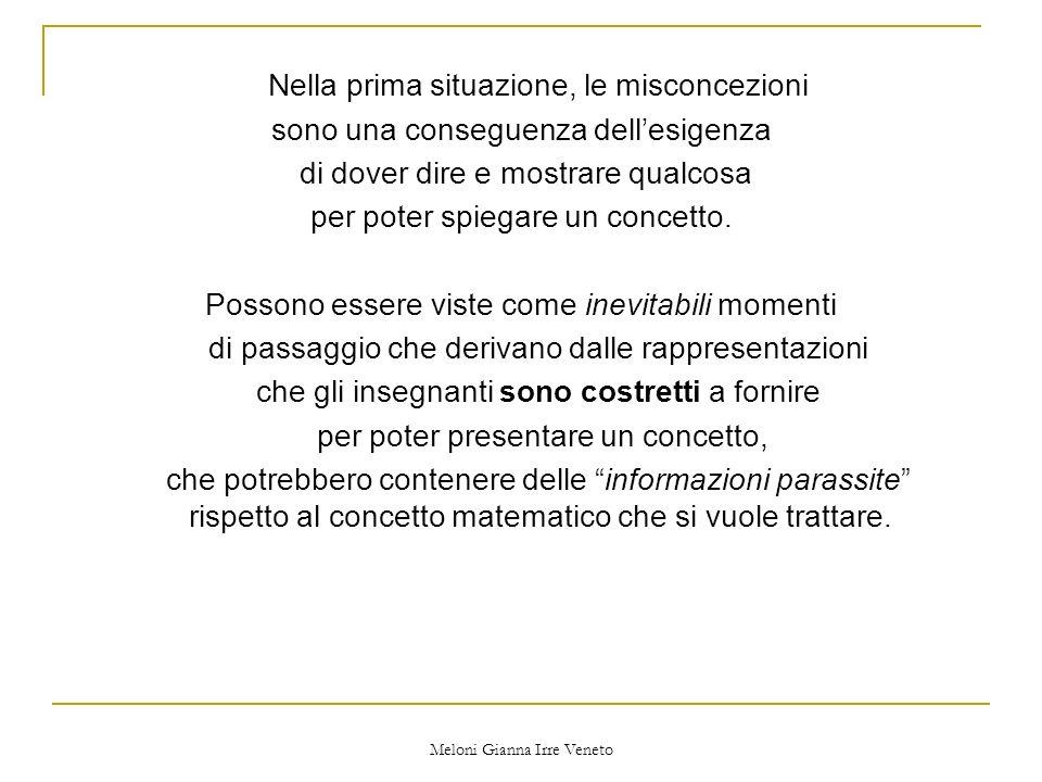 Meloni Gianna Irre Veneto Nella prima situazione, le misconcezioni sono una conseguenza dellesigenza di dover dire e mostrare qualcosa per poter spiegare un concetto.