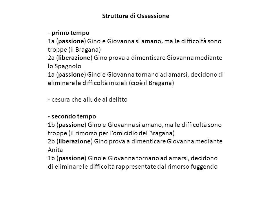 Struttura di Ossessione - primo tempo 1a (passione) Gino e Giovanna si amano, ma le difficoltà sono troppe (il Bragana) 2a (liberazione) Gino prova a