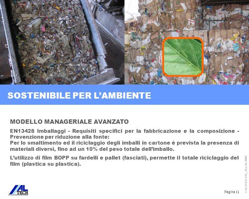Pagina 11 © ALTECH SRL, March 2009 MODELLO MANAGERIALE AVANZATO EN13428 Imballaggi - Requisiti specifici per la fabbricazione e la composizione - Prev