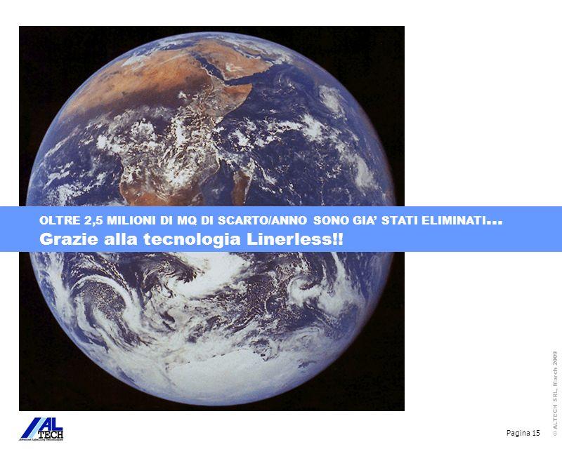 Pagina 15 © ALTECH SRL, March 2009 OLTRE 2,5 MILIONI DI MQ DI SCARTO/ANNO SONO GIA STATI ELIMINATI … Grazie alla tecnologia Linerless!!