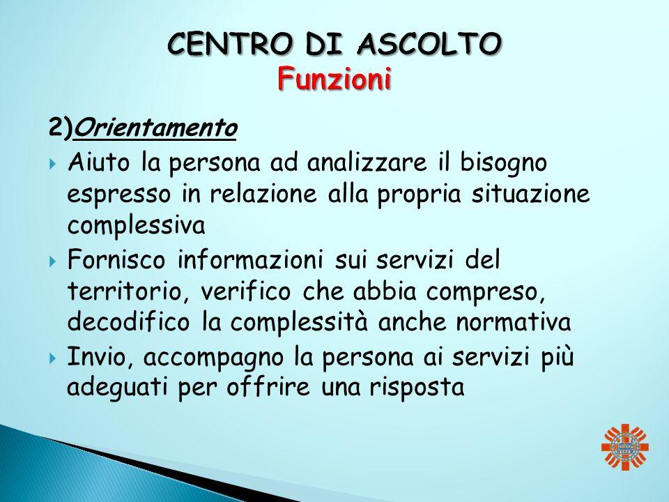 2)Orientamento Aiuto la persona ad analizzare il bisogno espresso in relazione alla propria situazione complessiva Fornisco informazioni sui servizi d