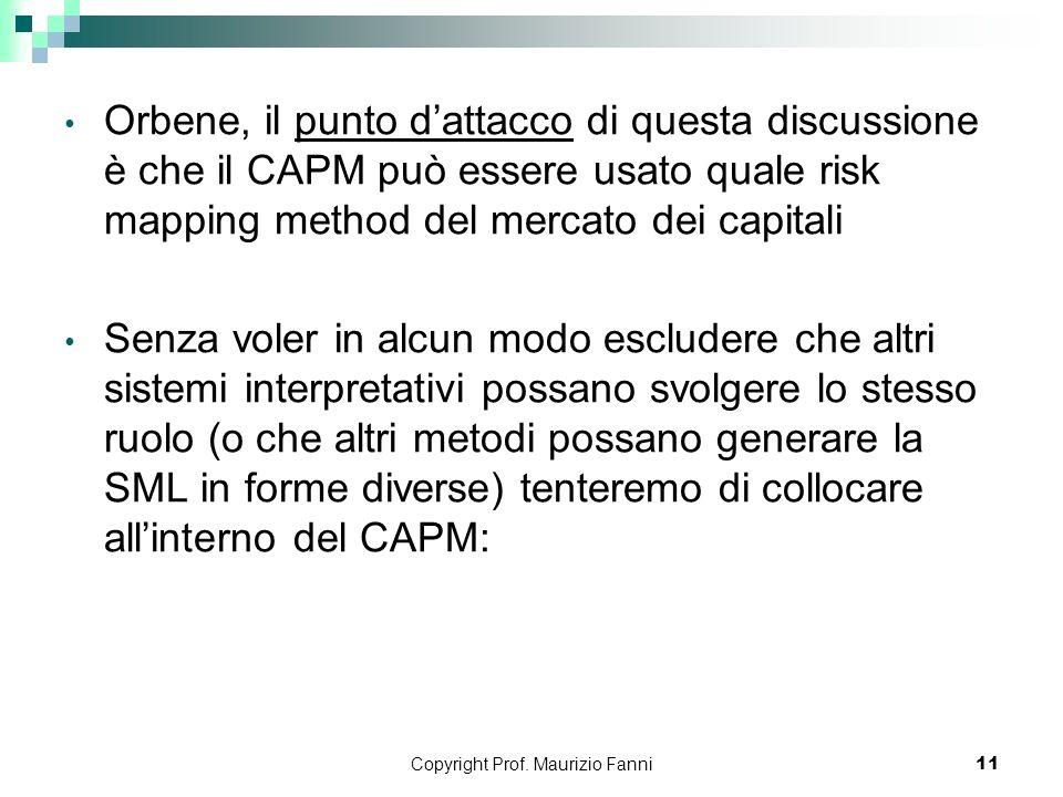 Copyright Prof. Maurizio Fanni11 Orbene, il punto dattacco di questa discussione è che il CAPM può essere usato quale risk mapping method del mercato