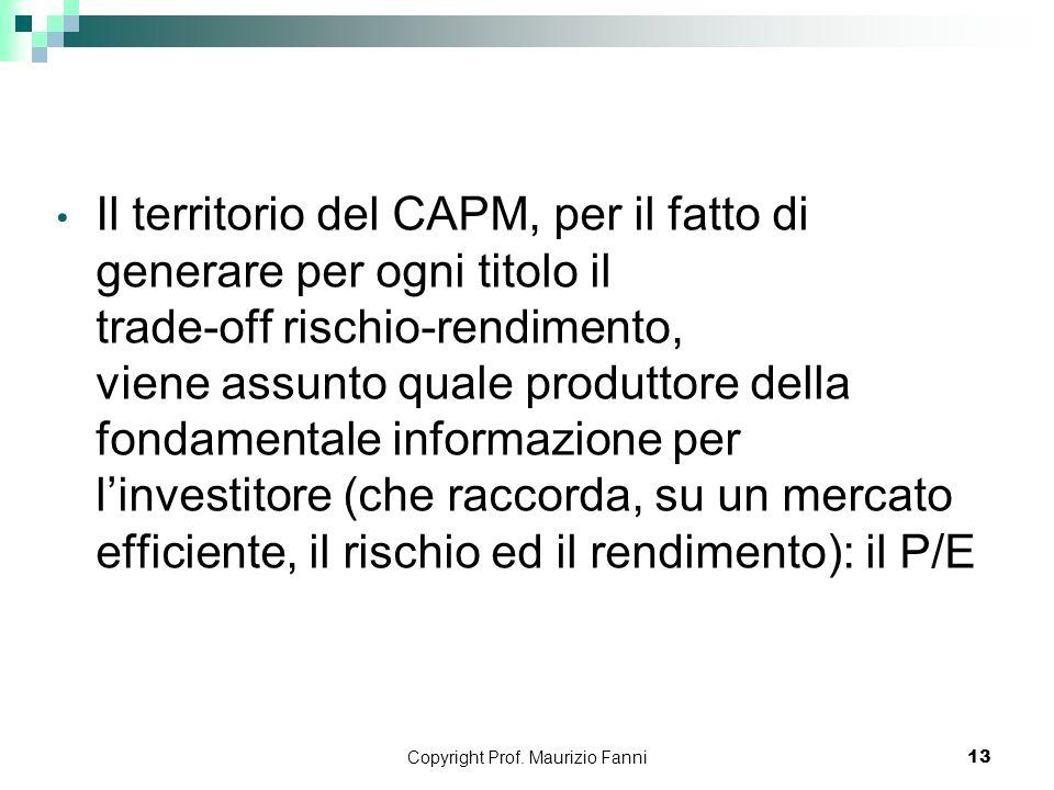 Copyright Prof. Maurizio Fanni13 Il territorio del CAPM, per il fatto di generare per ogni titolo il trade-off rischio-rendimento, viene assunto quale