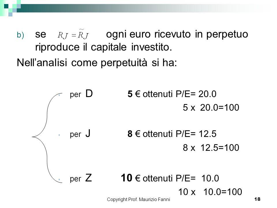 Copyright Prof. Maurizio Fanni18 b) se ogni euro ricevuto in perpetuo riproduce il capitale investito. Nellanalisi come perpetuità si ha: per D 5 otte