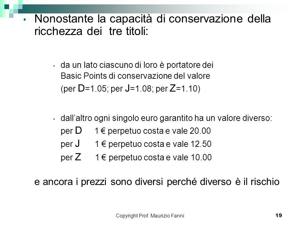 Copyright Prof. Maurizio Fanni19 Nonostante la capacità di conservazione della ricchezza dei tre titoli: da un lato ciascuno di loro è portatore dei B