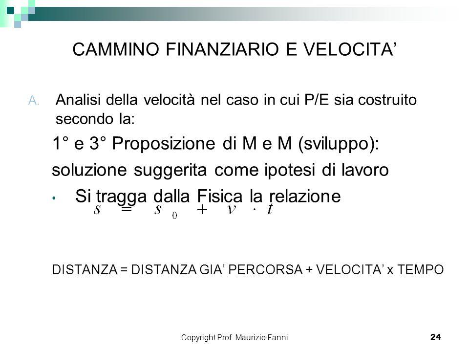 Copyright Prof. Maurizio Fanni24 CAMMINO FINANZIARIO E VELOCITA A. Analisi della velocità nel caso in cui P/E sia costruito secondo la: 1° e 3° Propos