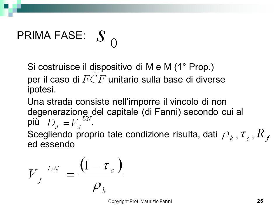 Copyright Prof. Maurizio Fanni25 PRIMA FASE: Si costruisce il dispositivo di M e M (1° Prop.) per il caso di unitario sulla base di diverse ipotesi. U