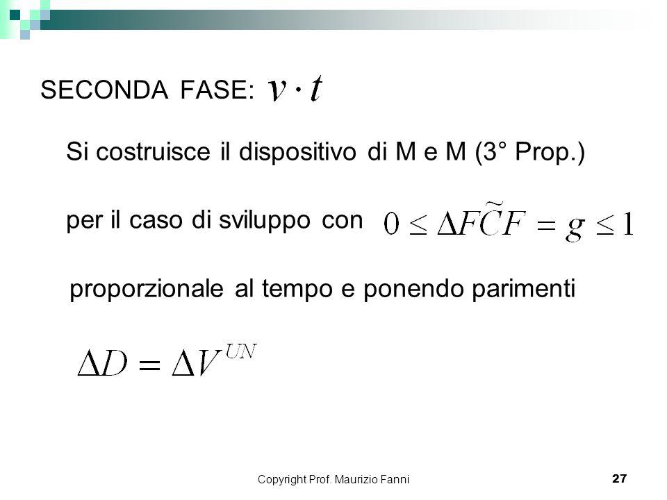 Copyright Prof. Maurizio Fanni27 SECONDA FASE: Si costruisce il dispositivo di M e M (3° Prop.) per il caso di sviluppo con proporzionale al tempo e p