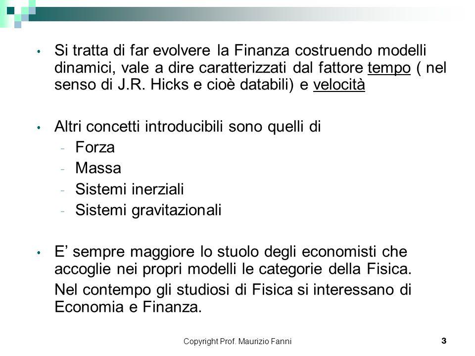 Copyright Prof. Maurizio Fanni3 Si tratta di far evolvere la Finanza costruendo modelli dinamici, vale a dire caratterizzati dal fattore tempo ( nel s