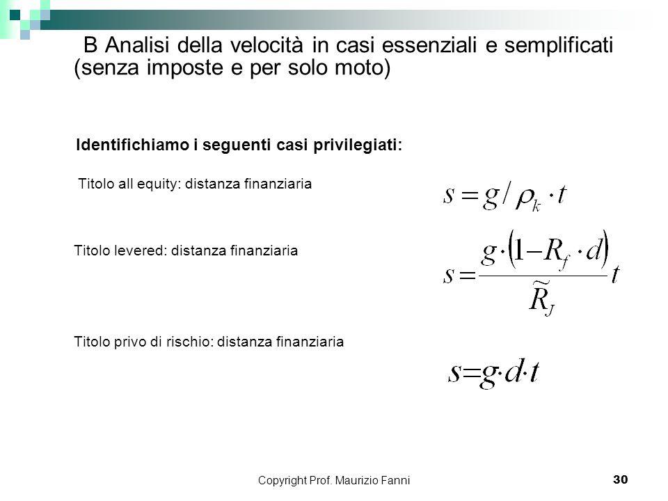 Copyright Prof. Maurizio Fanni30 B Analisi della velocità in casi essenziali e semplificati (senza imposte e per solo moto) Identifichiamo i seguenti