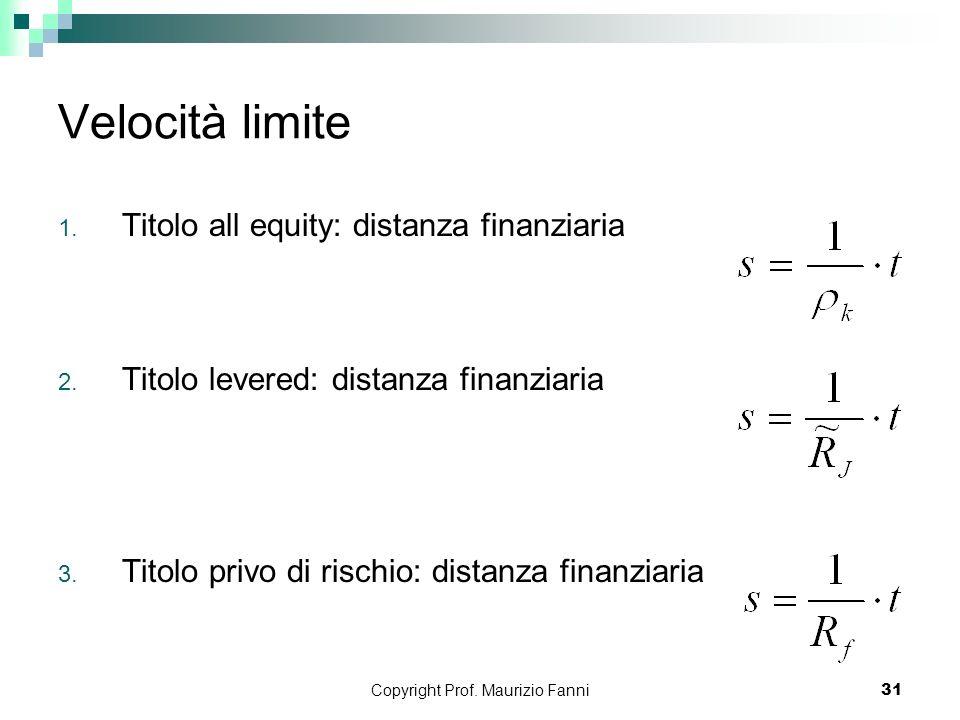 Copyright Prof. Maurizio Fanni31 Velocità limite 1. Titolo all equity: distanza finanziaria 2. Titolo levered: distanza finanziaria 3. Titolo privo di