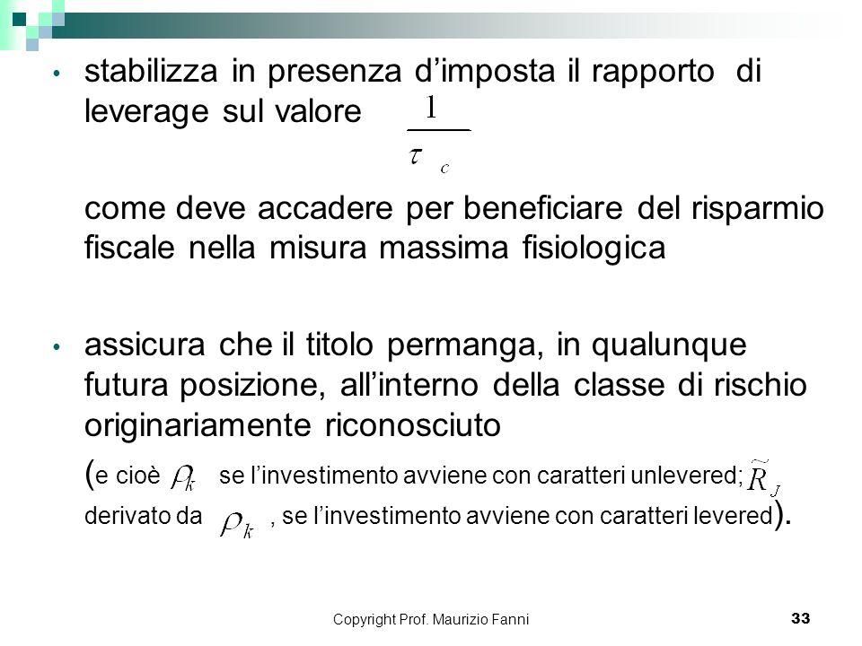 Copyright Prof. Maurizio Fanni33 stabilizza in presenza dimposta il rapporto di leverage sul valore come deve accadere per beneficiare del risparmio f