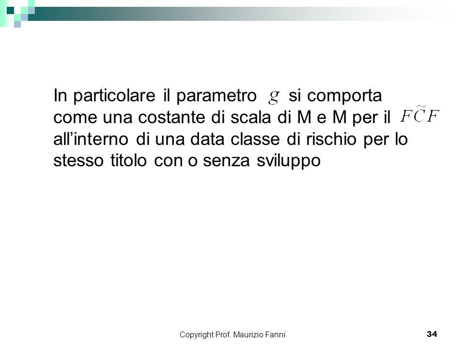 Copyright Prof. Maurizio Fanni34 In particolare il parametro si comporta come una costante di scala di M e M per il allinterno di una data classe di r