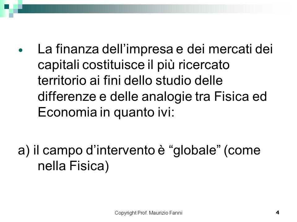 Copyright Prof. Maurizio Fanni4 La finanza dellimpresa e dei mercati dei capitali costituisce il più ricercato territorio ai fini dello studio delle d