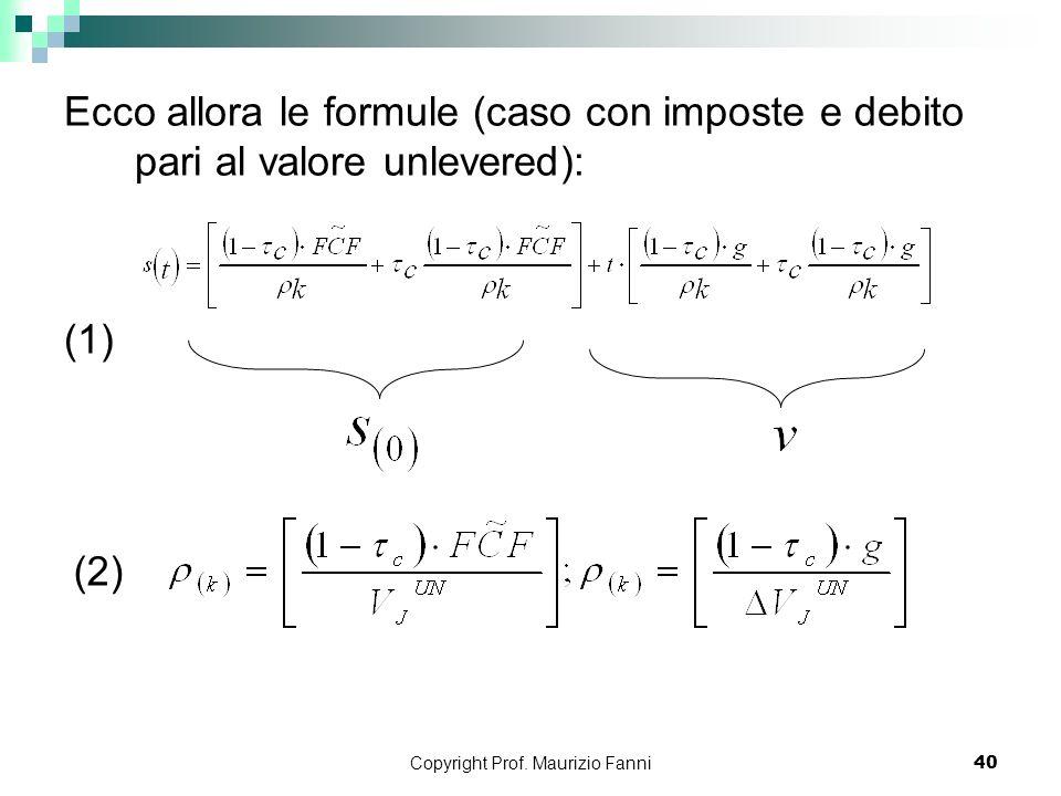 Copyright Prof. Maurizio Fanni40 Ecco allora le formule (caso con imposte e debito pari al valore unlevered): (1) (2)