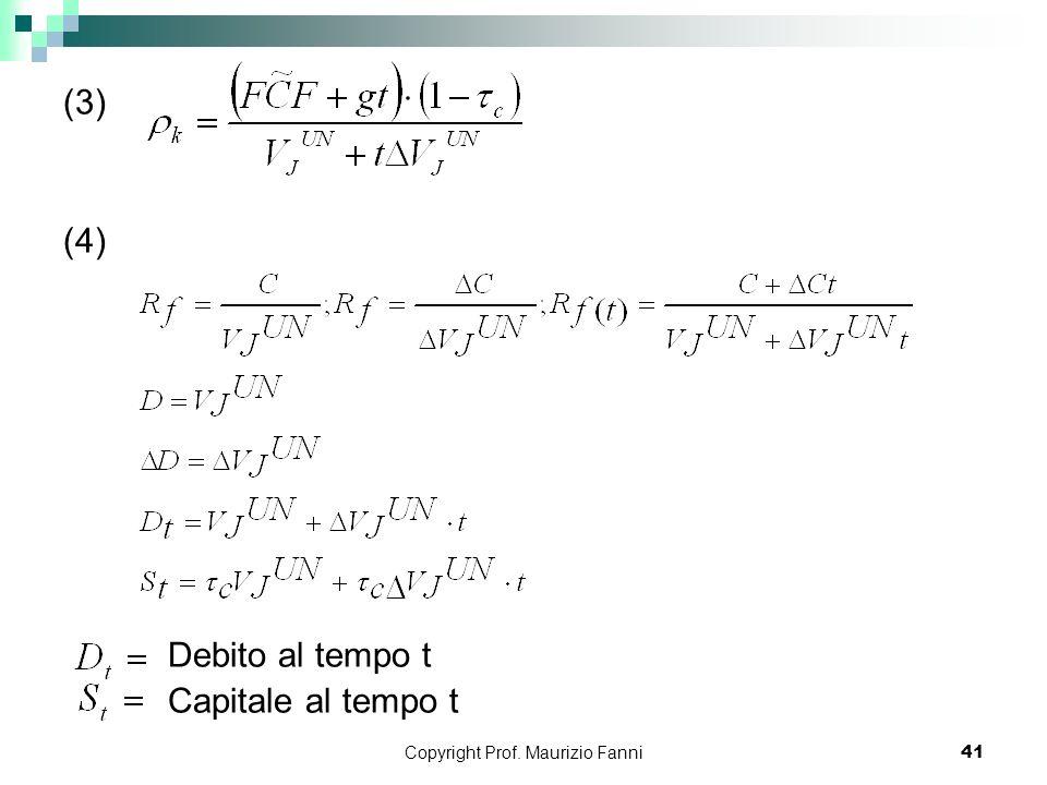 Copyright Prof. Maurizio Fanni41 (3) (4) Debito al tempo t Capitale al tempo t