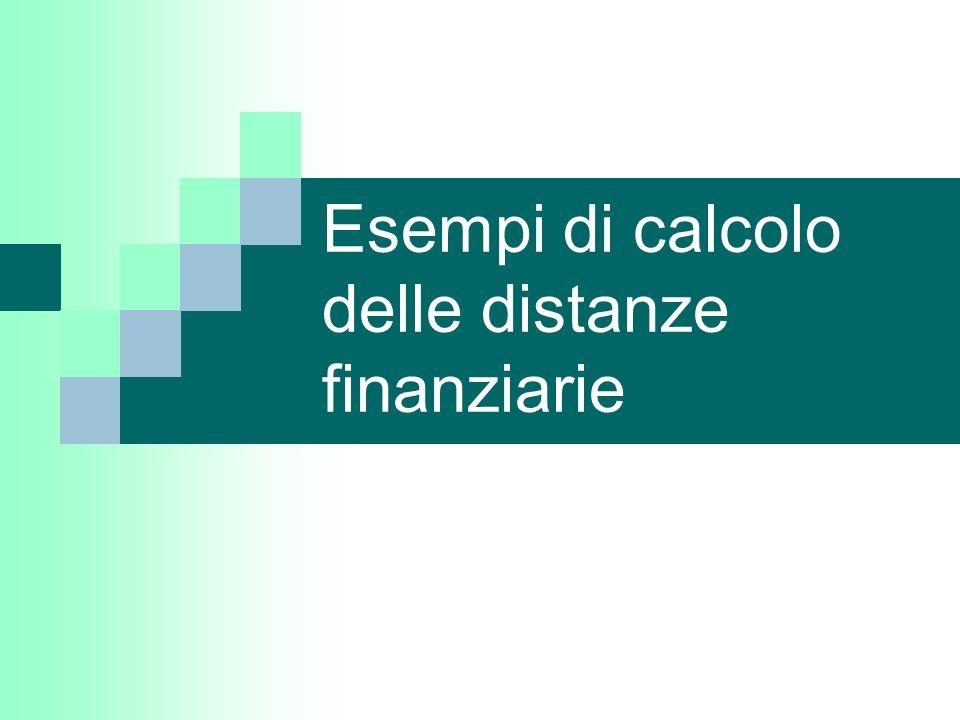 Esempi di calcolo delle distanze finanziarie