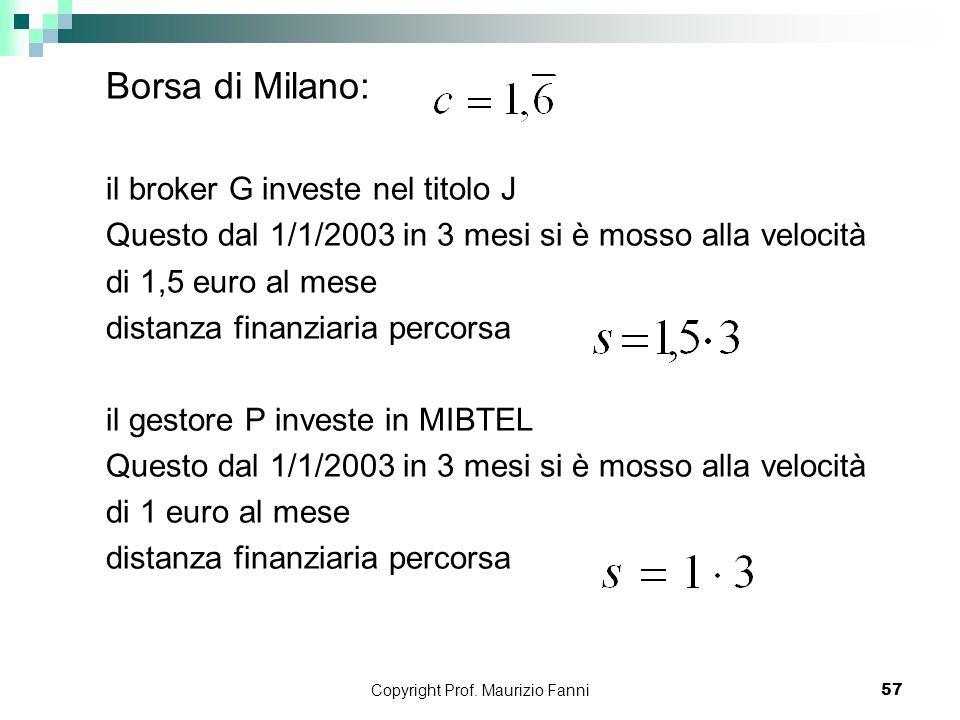 Copyright Prof. Maurizio Fanni57 Borsa di Milano: il broker G investe nel titolo J Questo dal 1/1/2003 in 3 mesi si è mosso alla velocità di 1,5 euro