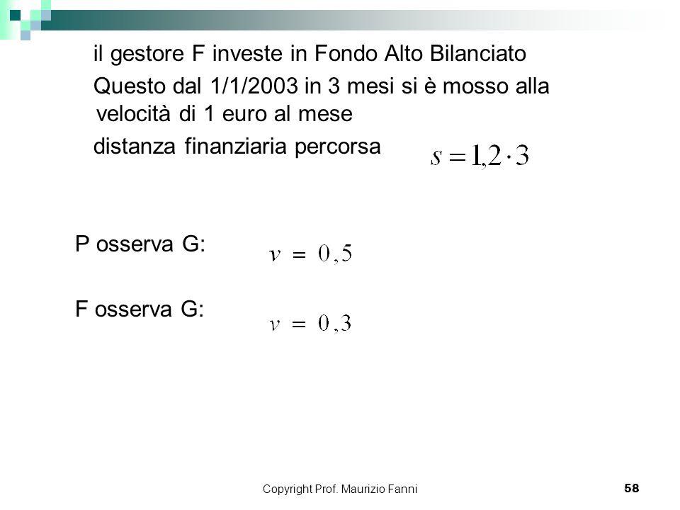 Copyright Prof. Maurizio Fanni58 il gestore F investe in Fondo Alto Bilanciato Questo dal 1/1/2003 in 3 mesi si è mosso alla velocità di 1 euro al mes