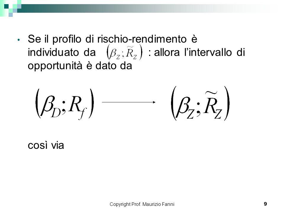 Copyright Prof. Maurizio Fanni9 Se il profilo di rischio-rendimento è individuato da : allora lintervallo di opportunità è dato da così via