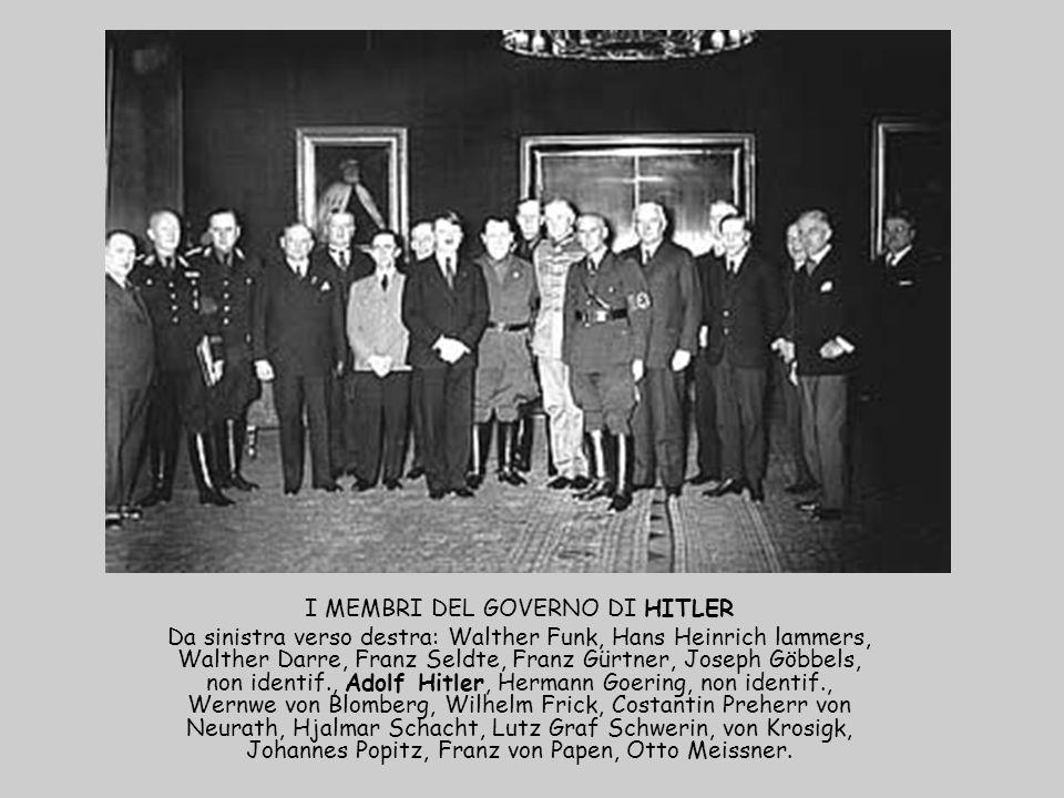 I MEMBRI DEL GOVERNO DI HITLER Da sinistra verso destra: Walther Funk, Hans Heinrich lammers, Walther Darre, Franz Seldte, Franz Gürtner, Joseph Göbbe