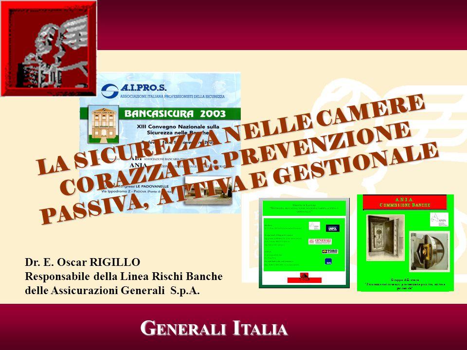 G ENERALI I TALIA G ENERALI I TALIA Dr. E. Oscar RIGILLO Responsabile della Linea Rischi Banche delle Assicurazioni Generali S.p.A. LA SICUREZZA NELLE