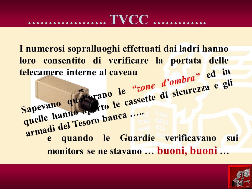 ………………. TVCC …………. I numerosi sopralluoghi effettuati dai ladri hanno loro consentito di verificare la portata delle telecamere interne al caveau e qu