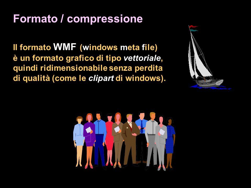 Formato / compressione Il formato WMF (windows meta file) è un formato grafico di tipo vettoriale, quindi ridimensionabile senza perdita di qualità (come le clipart di windows).