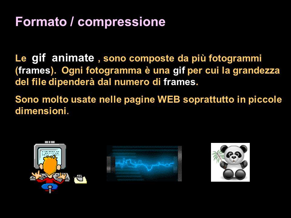 Formato / compressione Le gif animate, sono composte da più fotogrammi (frames). Ogni fotogramma è una gif per cui la grandezza del file dipenderà dal