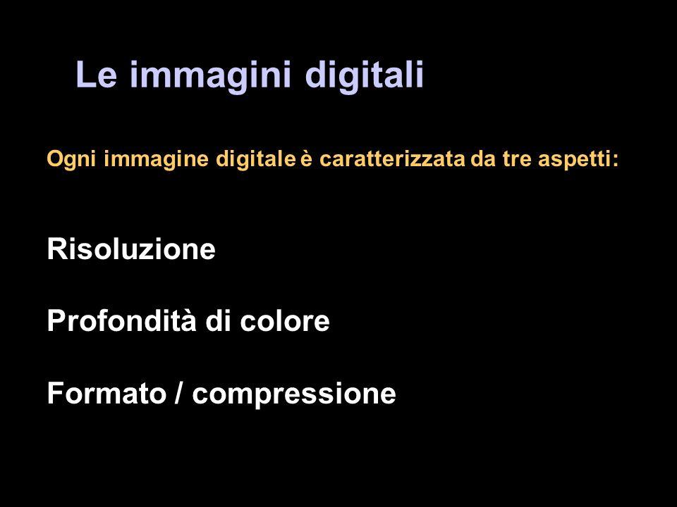 Le immagini digitali Ogni immagine digitale è caratterizzata da tre aspetti: Risoluzione Profondità di colore Formato / compressione