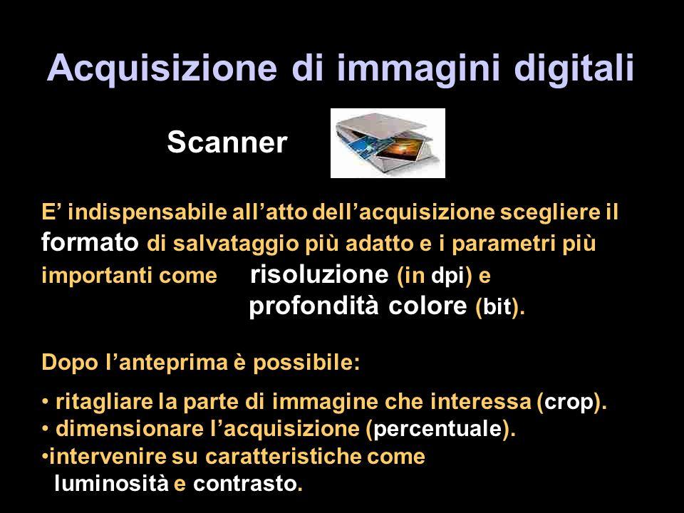 Acquisizione di immagini digitali Scanner E indispensabile allatto dellacquisizione scegliere il formato di salvataggio più adatto e i parametri più importanti come risoluzione (in dpi) e profondità colore (bit).