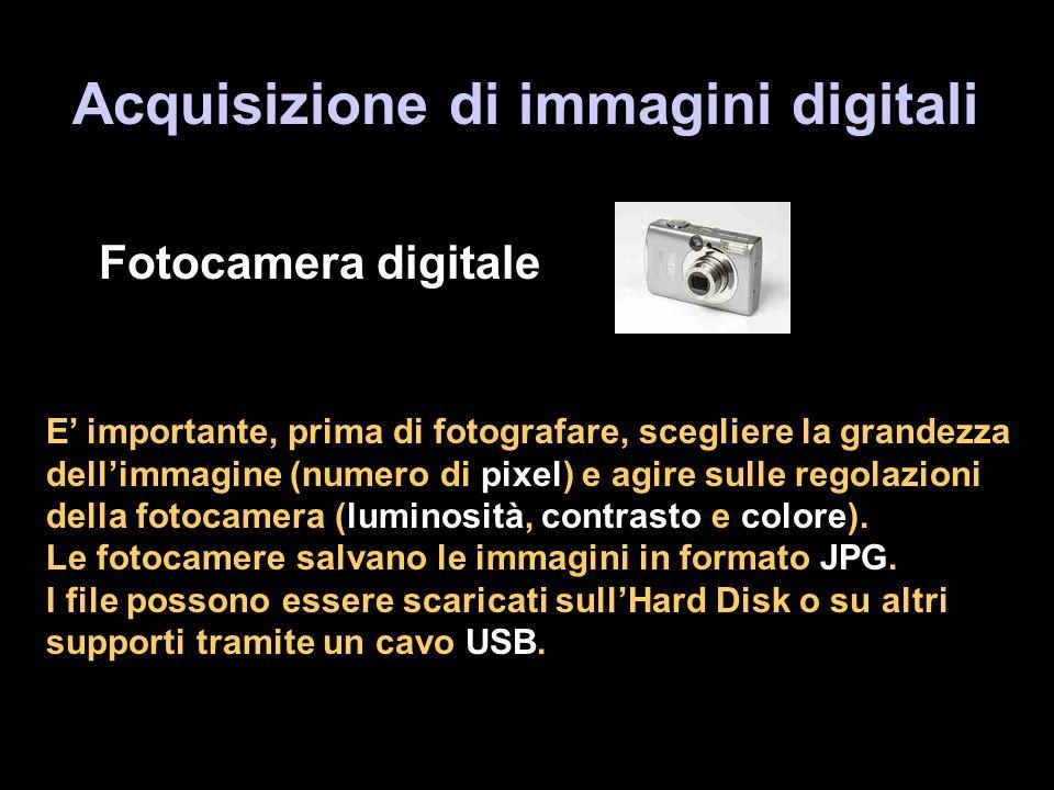 Acquisizione di immagini digitali Fotocamera digitale E importante, prima di fotografare, scegliere la grandezza dellimmagine (numero di pixel) e agire sulle regolazioni della fotocamera (luminosità, contrasto e colore).