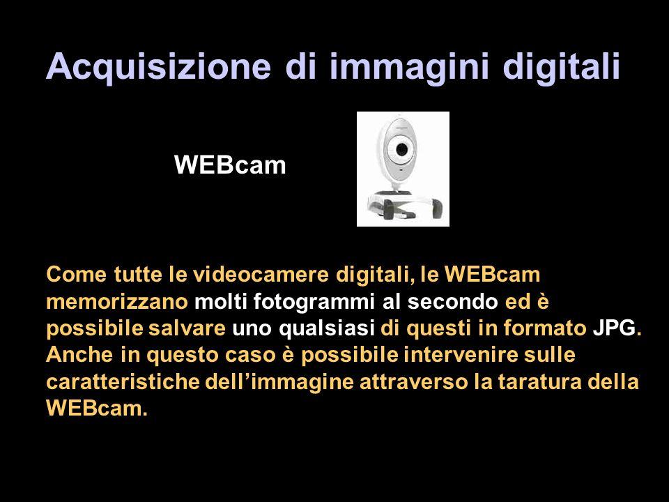 Acquisizione di immagini digitali WEBcam Come tutte le videocamere digitali, le WEBcam memorizzano molti fotogrammi al secondo ed è possibile salvare uno qualsiasi di questi in formato JPG.