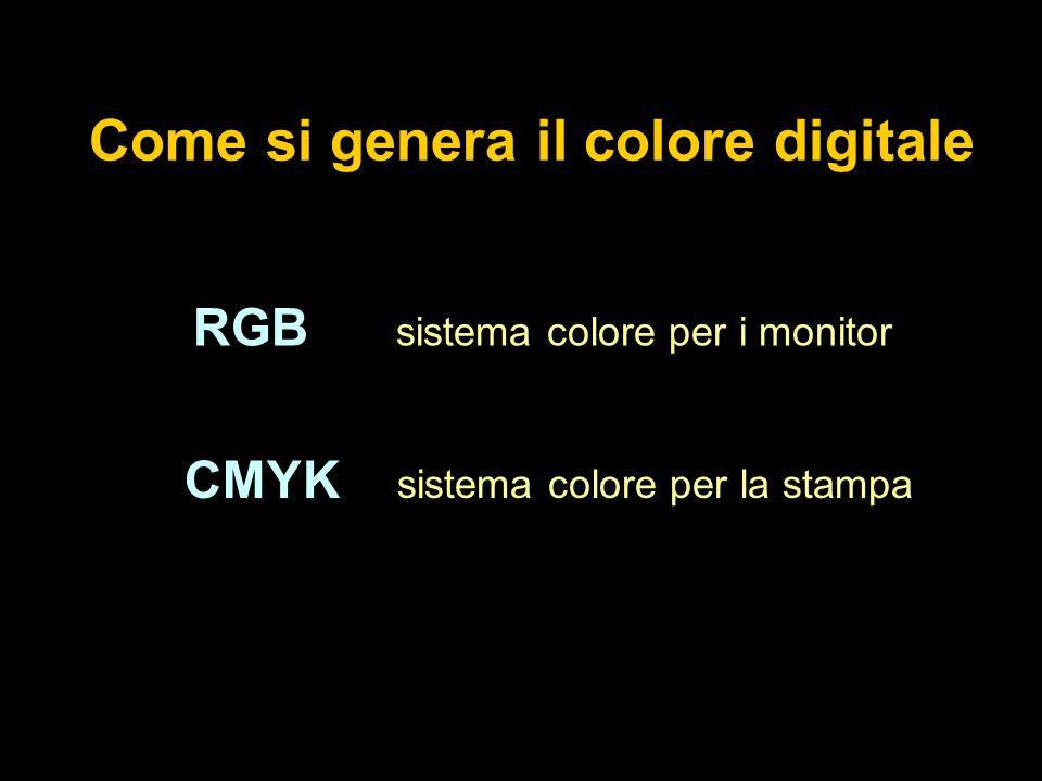 Come si genera il colore digitale RGB sistema colore per i monitor CMYK sistema colore per la stampa