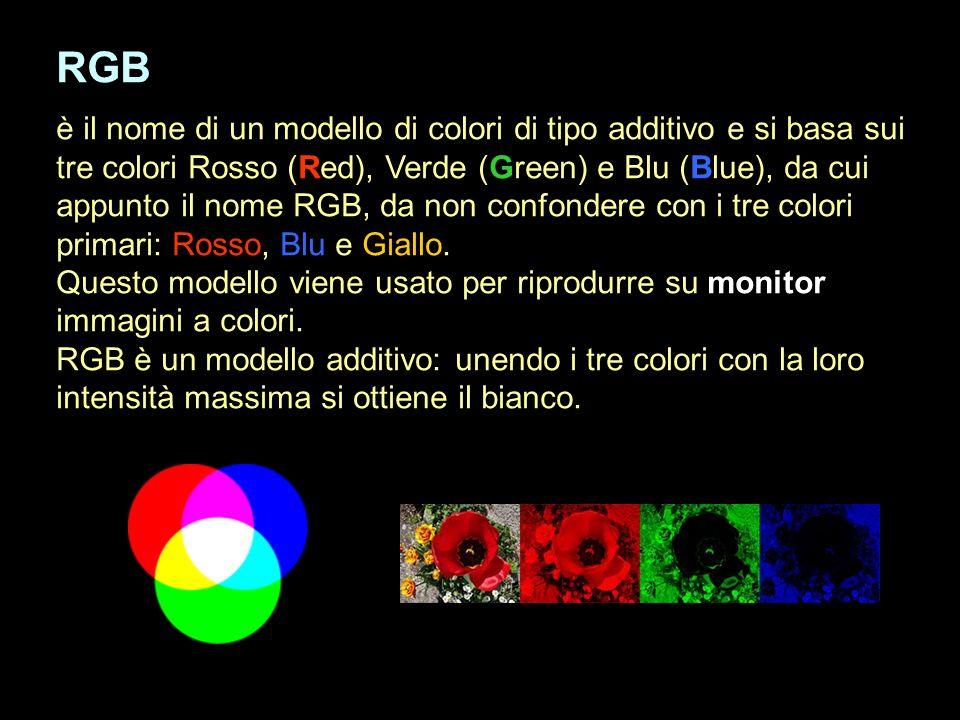 RGB è il nome di un modello di colori di tipo additivo e si basa sui tre colori Rosso (Red), Verde (Green) e Blu (Blue), da cui appunto il nome RGB, d