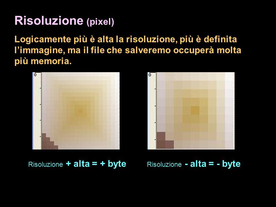 Risoluzione (pixel) Logicamente più è alta la risoluzione, più è definita limmagine, ma il file che salveremo occuperà molta più memoria. Risoluzione