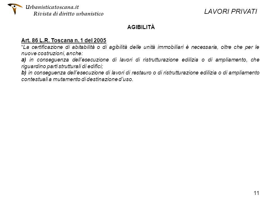 11 AGIBILITÀ Art. 86 L.R. Toscana n. 1 del 2005 La certificazione di abitabilità o di agibilità delle unità immobiliari è necessaria, oltre che per le