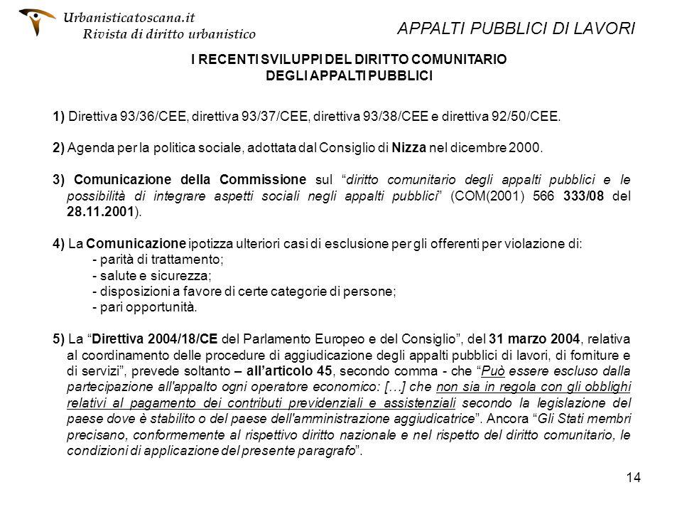 14 I RECENTI SVILUPPI DEL DIRITTO COMUNITARIO DEGLI APPALTI PUBBLICI 1) Direttiva 93/36/CEE, direttiva 93/37/CEE, direttiva 93/38/CEE e direttiva 92/5
