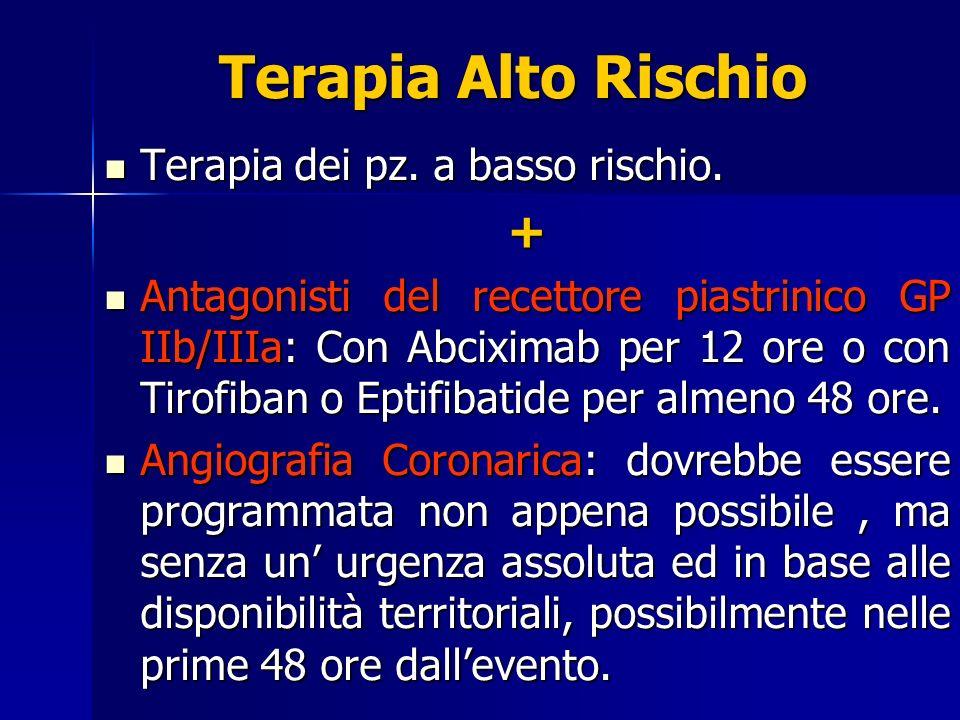 Terapia Alto Rischio Terapia dei pz. a basso rischio. Terapia dei pz. a basso rischio.+ Antagonisti del recettore piastrinico GP IIb/IIIa: Con Abcixim
