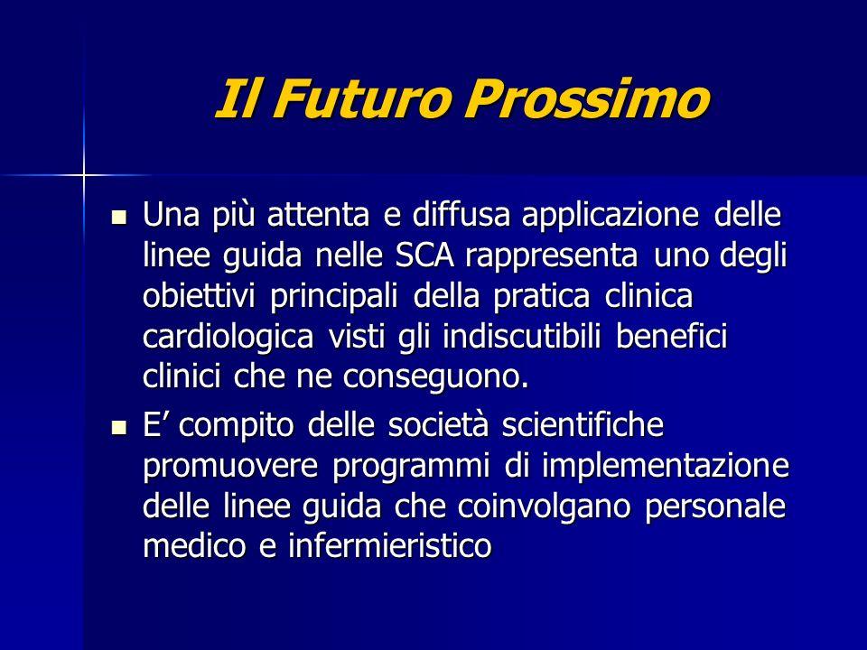 Il Futuro Prossimo Una più attenta e diffusa applicazione delle linee guida nelle SCA rappresenta uno degli obiettivi principali della pratica clinica