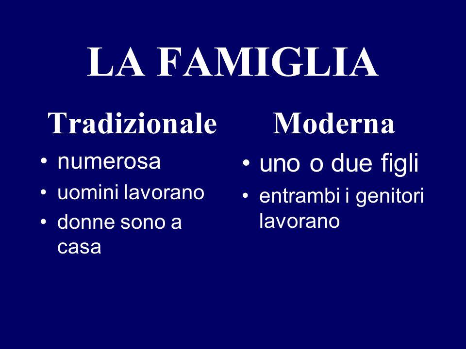 LA FAMIGLIA Tradizionale numerosa uomini lavorano donne sono a casa Moderna uno o due figli entrambi i genitori lavorano