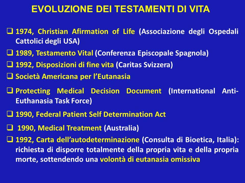 EVOLUZIONE DEI TESTAMENTI DI VITA 1974, Christian Afirmation of Life (Associazione degli Ospedali Cattolici degli USA) 1989, Testamento Vital (Confere