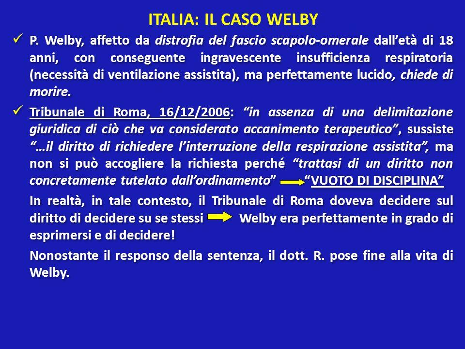 ITALIA: IL CASO WELBY P. Welby, affetto da distrofia del fascio scapolo-omerale dalletà di 18 anni, con conseguente ingravescente insufficienza respir