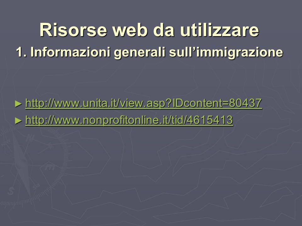 Risorse web da utilizzare 1.