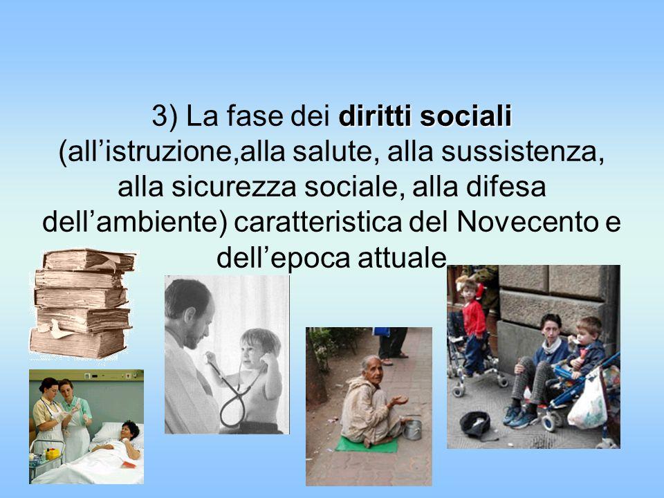 diritti sociali 3) La fase dei diritti sociali (allistruzione,alla salute, alla sussistenza, alla sicurezza sociale, alla difesa dellambiente) caratte