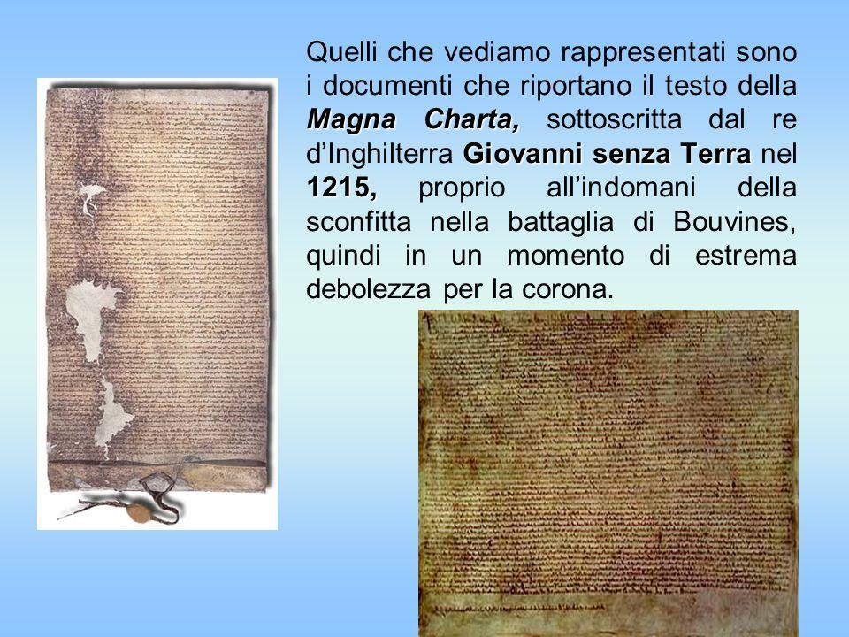 Magna Charta, Giovanni senza Terra 1215, Quelli che vediamo rappresentati sono i documenti che riportano il testo della Magna Charta, sottoscritta dal